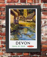 Tu26 Vintage Devon los ferrocarriles británicos Enmarcado viajar Cartel volver a imprimir imagen A3/a4