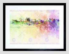 ASTRATTO Cityscape Londra Inghilterra SKYLINE PAINT SPLASH incorniciato stampa b12x8510