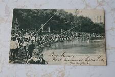 Antique Postcard 1906 RPPC Fishing Scene Brookside Park Cleveland Ohio Cane Pole
