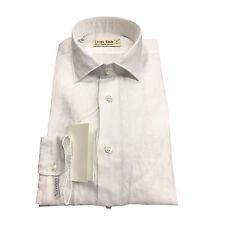 ICON LAB 1961 camisa de hombre en blanco manga larga 100% lino vestibiità slim