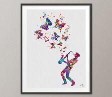 Jazz Man 2 Acuarela Impresión de Arte Decoración Hogar Decoración Barra música cartel Geek Cartel