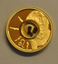 2003 Cook Is. Gold plated Silver w/Gemstones $1 Zodiac- Leo/Onyx