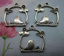 10/30/100pcs  retro style Auspicious birds alloy charms pendants 26*26*2.5mm