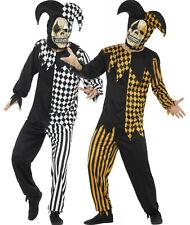 Da Uomo Adulto Clown malvagio spaventoso Jester harelquin Halloween Costume