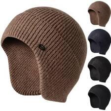 Mens Unisex Knitted Beanie Hats Ear Flap Ducker Fisherman Ski Skull Caps Bomber