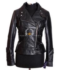 Militaires rétro Vintage moutons Tara Black Ladies féminines cuir veste Fashion