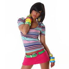 Damen T-Shirt Top Kurzarm Shirts Sommer Tops Bluse Oberteil Stretch Color Mix