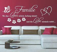 G296 Spruch Wandtattoo - Familie wo das Leben seinen Anfang Wandaufkleber Zitat