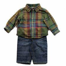 Polo Ralph Lauren Infant Boy's Green Multi Plaid Cotton Shirt & Jean Set