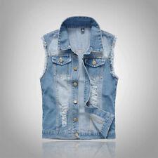 Fashion Men Sleeveless Jacket Vest Waistcoat Fastener Distress Denim Plus Size
