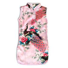 Girl Chinese Dress Qipao Mandarin Gown Party Cheongsam Peacock Peony Pink