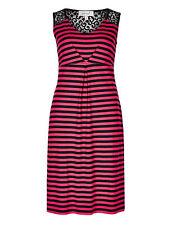 New M&S Per Una Red & Navy Striped Lace Shift Dress Sz UK 10 & 20