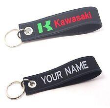 KAWASAKI KEYCHAIN CUSTOM TEXT NAME  MOTORCYCLE EMBROIDERED TAG KEY RING HOLDER