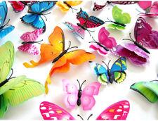 12Pcs 3D double ou simple couche aile Papillons Autocollant Mural Aimant Stickers