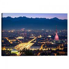 Quadro Stampa su Tela con Telaio Torino panorama di notte