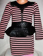 Filles peachy pink & black stripe pvc matelassé fermeture à glissière classique peplum robe de soirée