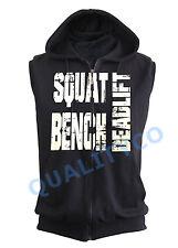 Squat Bench Deadlift Black Zipper Vest Hoodie Sweatshirt Workout Muscle Gym MMA