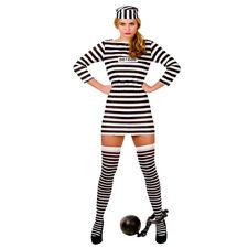 Adult Womens Jailbird Cutie Sexy Convict Prisoner Fancy Dress Costumes 2125