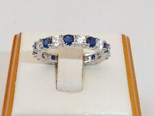 Anello da donna in argento sterling 925 blu e bianco con zaffiro
