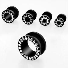 "Black Acrylic Flesh Tunnel Ear Plugs White Sunflower Design Screw Fit 12G-5/8"""