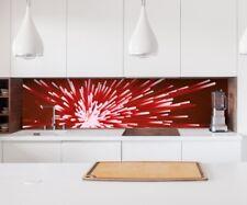 Aufkleber Küchenrückwand 3D Effekt rot Licht Linien abstrakt Folie Küche 22A201