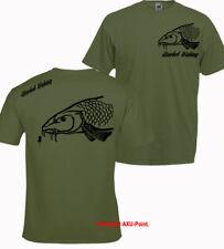 Barbo Pesca camiseta Grande Carpa Crew Señuelos Trucha besugo Tenca Oliva Tee 2-S cabeza