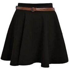 Skater Belted Stretch Waist Plain Flippy Flared Jersey Short Skirt