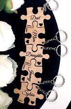 keyring wooden OAK personalised puzzle jigsaw gift keyring FAMILY KEYRING