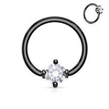 Piercing anillo oculta negro piedra redonda blanco