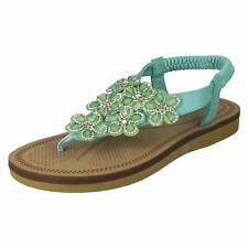 New Ladies Mint Green Diamante Flower Strap Sandals Size 3 4 5 6 7 8 SALE