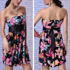 Black Sleeveless Satin Floral Pink Blue Tight Dress Bubble Bodycon Clubwear M-XL