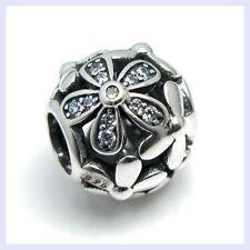STR Silver Daisy Flower Blossom Clear CZ Crystal Bead f/ European Charm Bracelet