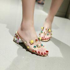 Women Block Mid Heel Rhinestone Sandals Clear Slippers Peep Toe Summer Big Shoes