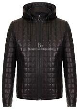 Men Quilted Jacket Black Detachable Hood Real Lambskin Hoodie Winter Jacket 3043