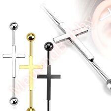 14G Cross Industrial Barbell Bar Ear Ring Body Piercing Jewellery