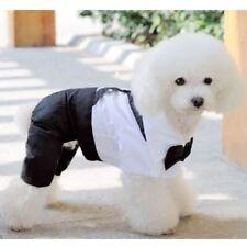 Dog puppy clothes tuxedo shirt suit bow tie wedding clothing jumpsuit british