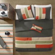 Modern Sporty Orange Green Beige Tan Boys Stripe Soft Comforter Set & Pillow New