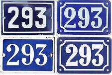 Alt blau Französischer Hausnummer 293 Tür Tor Stahlblech Emaille Schild plektrum