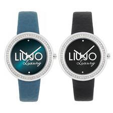 Reloj De Mujer LIU JO Luxury DREAM Piel Genuina Negro Azul Swarovski