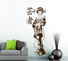 Geisha Fan Blossom Girl MANGA Japanese Decor ANIME Vinyl Wall Sticker Decal