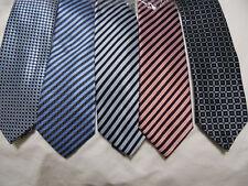 New Mens Neck-Ties JON VANDYK Blue Striped Square Geometric Hand Made Sharp