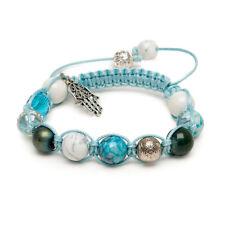 Zebredellas Howlite Indian Agate Hematite Hamsa Love Bead Gemstone Bracelet