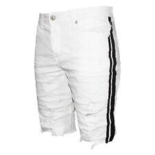 Bermuda Uomo Bianco Pantaloni Corti Casual Cotone Strappato Striscia Nera SARANI