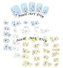 Nail Art Water Transfer Stickers-Tattoo Adesivi Unghie-Fiori-Azzurri-Oro-Argento