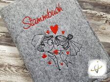 Stammbuchhülle Filz Brautpaar Namensbestickung Unikat Hochzeit Geschenk