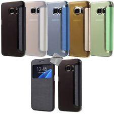 Housse etui coque portefeuille s-view Samsung G935 Galaxy S7 Edge + verre trempe
