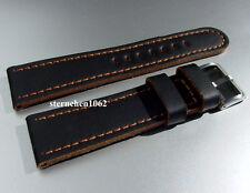 Eulit * Lederband für Uhren * Olymp * schwarz / goldbraun * 20 - 26 mm