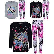 NUOVO Ragazze Faccia Tigre Stampa Glitter Multi Colore Top T shirt /& Leggings Leopardo Set