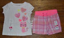 Jumping Beans Short Sleeve Cat Plaid Short Set 2T Matching Accent material Shirt
