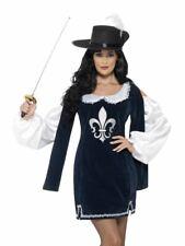 Womens Ladies Black Musketeer Fancy Dress Costume Medieval Hero Outfit + Hat